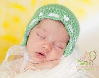 Newborn Bonnet... Sage green with Butterflies and lace.... Ready to ship