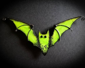 Wicked Bat Magnet,Bright Green,Swirls,Laser cut wood,Gothic wall Decor,Office Magnet,Decorative Magnets,Bats,Gothic,Fridge Magnet,Nocturnal