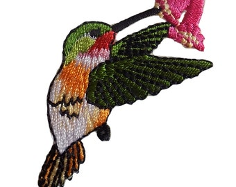 Small Hummingbird With Flower Embroidered Iron On Applique