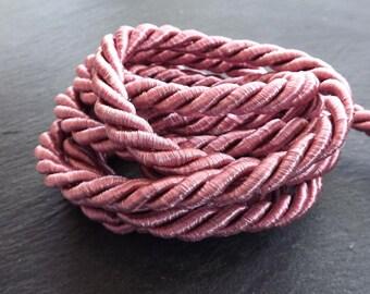 Crushed Rose Pink 7mm Twisted Rayon Satin Rope Silk Braid Cord - 3 Ply Twist - 1 meters - 1.09 Yards