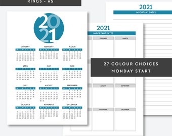 A5   2018, 2019, 2020, 2021, 2022 Year on One Page, Year Overview, A5 Printable Pages, A5 Planner Inserts, Yearly Calendar, Filofax, Kikki K