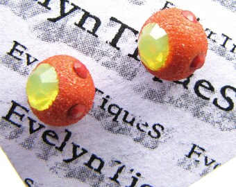 Abstract Swarovski Studs - Red Orange Yellow Swarovski Crystals - Sterling Silver POSTS