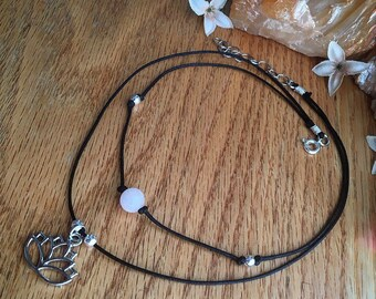 Lotus Flower & Healing Crystal Customizable Double Wrapped Choker Necklace!