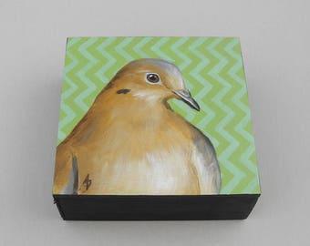 Mourning Dove art block painting, wildlife bird art, morning dove painting, green zigzag pattern geometric design