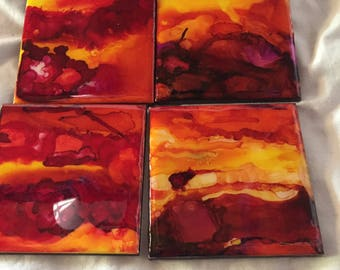 Alcohol Ink Coasters- Set of 4 Hand Painted Ceramic Coasters