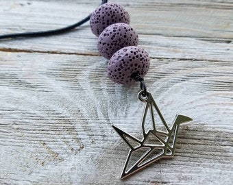 Silver Origami Bird, Essential oils Diffuser Necklace, Personal Diffuser Jewelry, Lava Stones, Aromatherapy Jewelry, Made To Order available