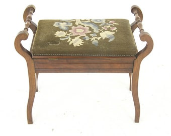 Piano Bench, Antique Piano Stool, Upholstered, Antique Furniture, Scotland 1900s, B986