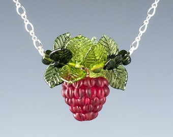 Glass Raspberry Necklace  Lampwork bead jewelry hand blown glass art birthday gift, anniversary gift, Mother's Day gift for gardener, cook