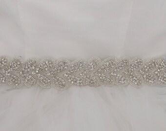 Arielle - Vintage Style Rhinestone Crystals Wedding Belt, Sash