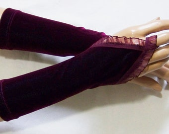 Holidays,Velours,Burgundy,Short Arm Warmers with finger loop,Vampire Gloves,Sleeves for Goth Lolita,Elegant and Comfortable IDEAL  for HER