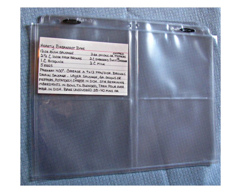 3-1/2 x 5 RECIPE CARD PROTECTORS Recipe Card