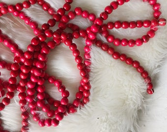 Vintage red wood beaded Christmas tree Garlands