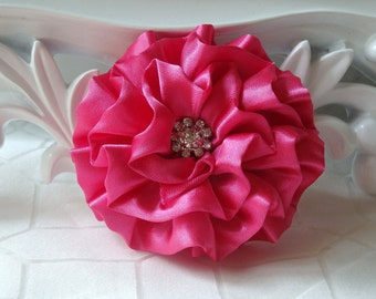 "Giselle Collections - Hot Pink 2.5"" Satin Flower with Rhinestone Center Wedding Bridal Favor Hair Accessory Applique Brooch headband"