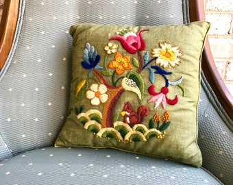 Vintage Embroidered Accent Pillow | Retro Throw Pillow | Nature Scene Designed Embroidered Pillow | Decorative Floral Pillow | Crewel Work