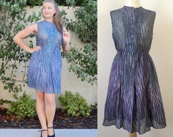 Vintage Summer Dress Purple / Blue Day Dress Size Small