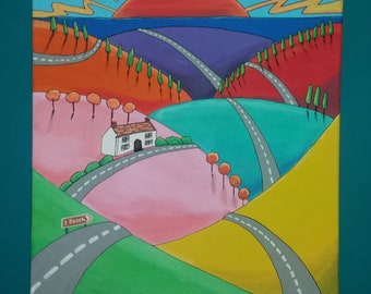 Original painting of rolling hills on cavas