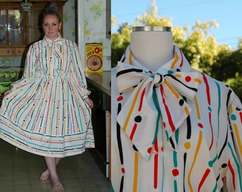 White Long Sleeve Yayoi Kusama Inspired Shirt Dress with Multi-Color Stripes and Polka Dots // Long Sleeve Pussy Bow Tie Collar