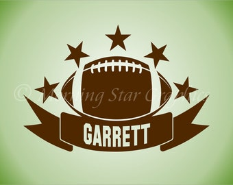 Vinyl Decal FOOTBALL Personalized Name Banner Sports Collegiate Wall Art Decal Sticker SP-116