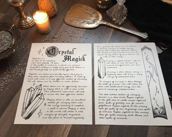 Crystal Magick - Digital Download, Book of Shadows Grimoire Page
