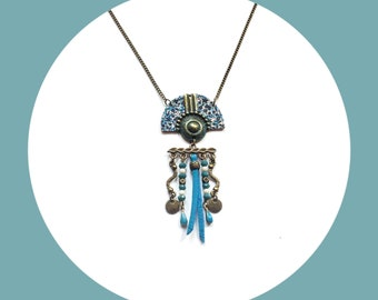 Necklace bronze and blue ethnic Asian style