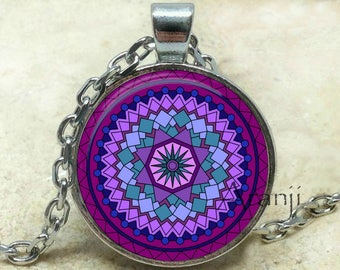 Purple mandala art pendant, mandala necklace, mandala jewelry, purple mandala pendant, purple kaleidoscope necklace, mandala Pendant #PA116P
