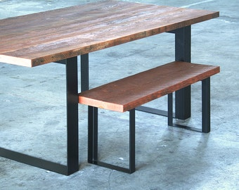 reclaimed wood dining table with high recycled content steel legs - modern industrial - urban salvage - by custom order