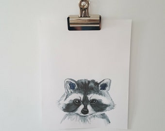 Woodland Raccoon Watercolour  Print