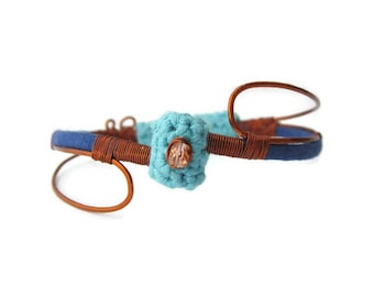 Boho chic fiber bangle bracelet, gypsy bangle, cotton and copper wire bangle, gift for her, spring summer lovers jewelry, blue lovers gift