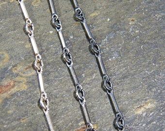 Sterling Silver Chain Necklace - Bar & Link chain - SS lobster clasp