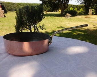 Vintage french copper pan with brass handles - Reserved for Nancy
