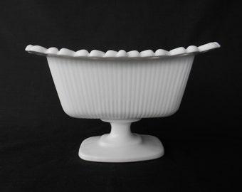 Vintage Scalloped Pedestal Milk Glass Vase / Trough  #00054