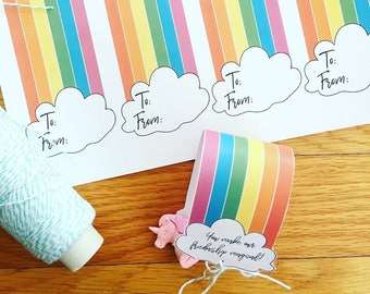 PRINTABLE  Unicorn/Rainbow Valentine Tag : INSTANT DOWNLOAD 8.5x11