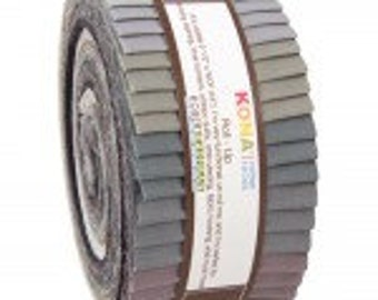Kona Cotton Solids Roll-Up. Gray Area palette. 40 2 1/2 x width of fabric strips. Gray Earth tone black Kona Rollup RU-424-40