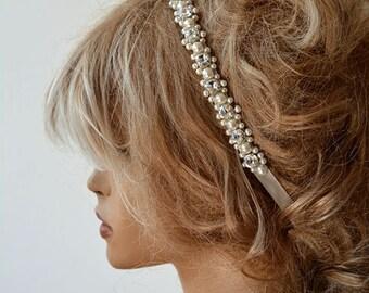 Wedding Pearl headband, Ivory Pearl Bridal Hair Accessory Rhinestone and Pearl Hair Piece, Bridal Hair Piece, Wedding Hair Accessories