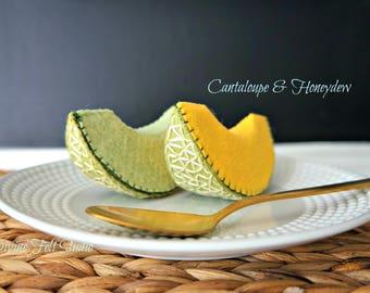 Wool Felt Play Food- Slice of cantaloupe & honeydew melon-Pretend Play Food