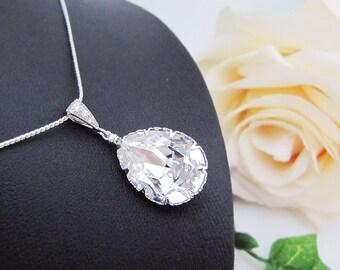 Bridal Necklace Bridesmaid Necklace Clear White Swarovski Crystal Tear drop