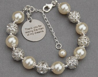 Thank You for Raising the Man of My Dreams, Wedding Bracelet, Mother of the Groom Bracelet, Mother in Law Gift, Grooms Mother Gift