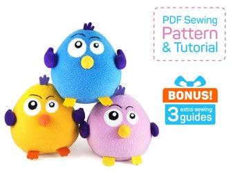 Fatty Funny Bird sewing pattern PDF | Stuffed bird pattern | Bird plush pattern | Bird pattern sewing | Funny bird | Easy sewing pdf
