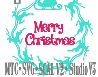 SVG Cut File Santa Sleigh with Reindeer Circle Design #06 with Merry Christmas Cutting File MTC SCAL Cricut Silhouette Cutting File
