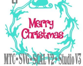 SVG coupe fichier père Noël traîneau avec renne cercle Design #06 avec Merry Christmas couper fichier MTC SCAL de découpe Cricut Silhouette