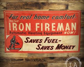 Vintage Iron Fireman Automatic Heating Equipment Advertising Banner