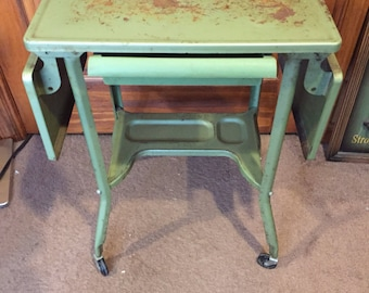 Steel Industrial Typewriter Table with drop leaves and drawer