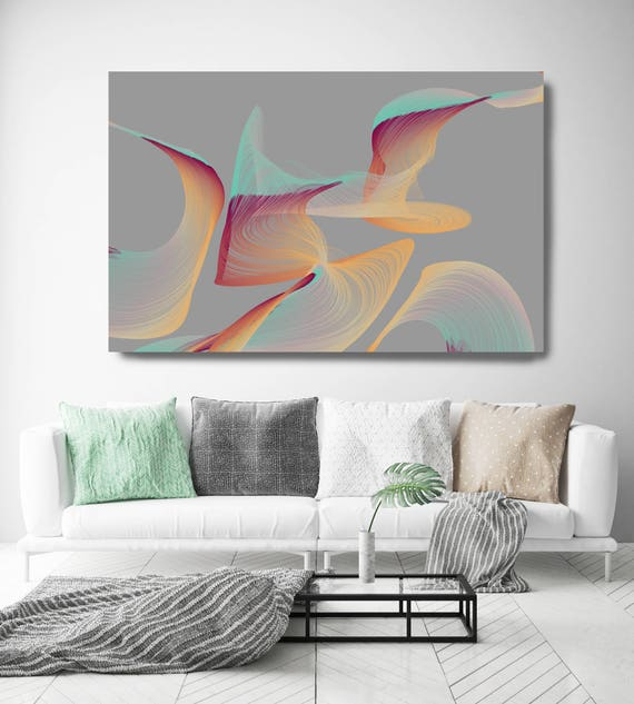 "Color Breeze 5. Abstract New Media Art, Wall Decor, Extra Large Abstract Gray Teal Yellow Canvas Art Print up to 72"" Irena Orlov"