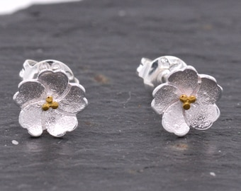 Super Cute and Pretty Cherry Blossom Stud Earrings in Sterling Silver z2