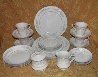 25 Pc Vintage Japan FORGET-ME-NOT Dinner Set Service for 4 - Mint Tableware Dining Dinnerware Fine China Dishes (LB3) & Japanese dinnerware   Etsy