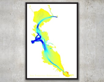 San Francisco Bay Bathymetry, SF Map Print