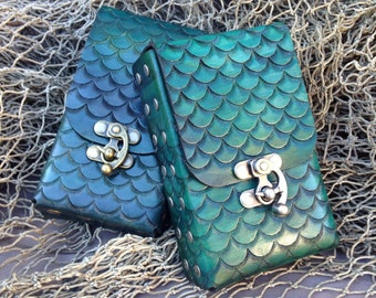 Undersea Fish Scaled Hand Stamped Leather Tarot Case