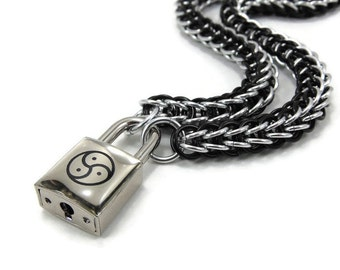 BDSM Symbol Slave Collar Black & Silver Chainmail Submissive Padlock Necklace Triskelion
