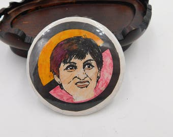1980's Vintage Pin Pinback Button with a Lady and a NO slash ? Not sure who or why DR18