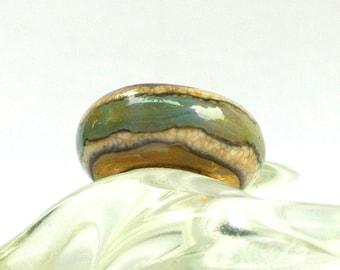 Lampwork Glass Bead for ALL Big Hole Bead European Charm Bracelets - Painted Desert Sands BHB